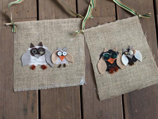 Owl Burlap Fall Flag