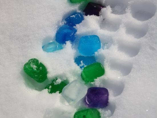 Colored Ice in the Snow