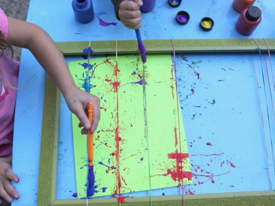 Rubber Band Splatter Painting