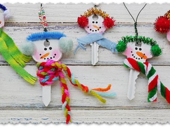 Recycled Key Snowman Ornaments