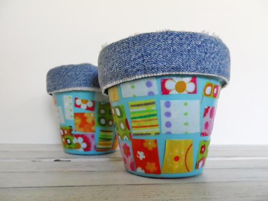 Denim & Fabric Scrap Pots