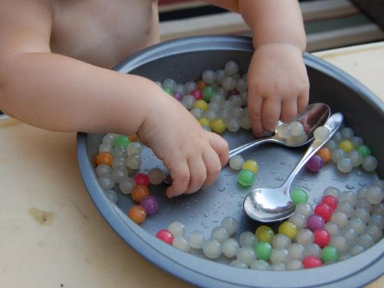 Sensory Play with Tapioca Pearls