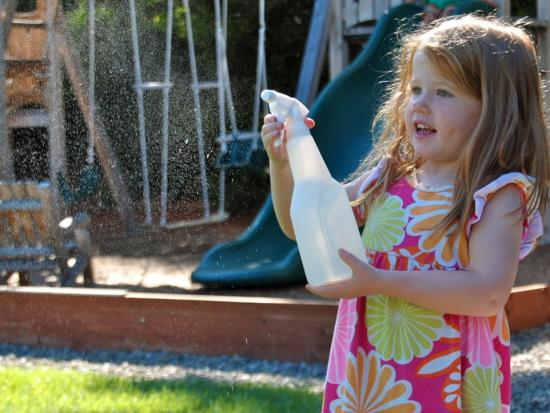 Spray Bottle + Water = Fun!