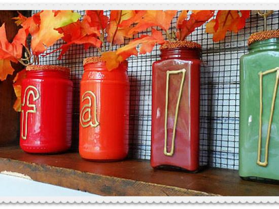 Paint Filled Jar Fall Vases