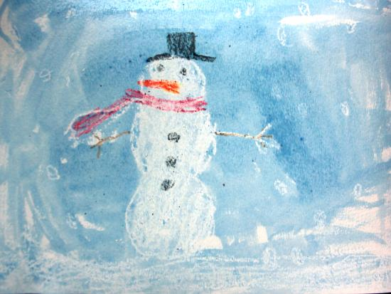 Snowman Wax Resist Painting