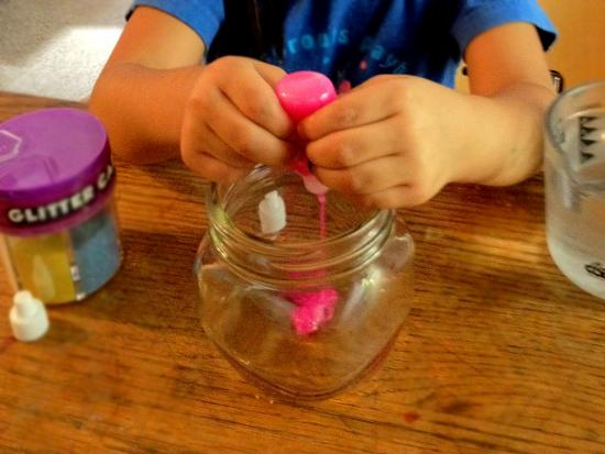 Set out materials for your child to see on the table. Squeeze about ...