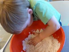Flour + Baby Oil = Cloud Dough