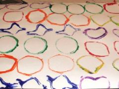 Paint Stamping with Shaped Cardboard Tubes