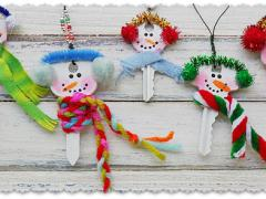 Recycled Key Snowman Ornaments
