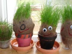 Grass head people