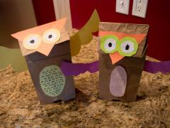Brown Paper Bag Owl Puppet