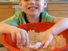 Flour + Baby Oil = Cloud Dough