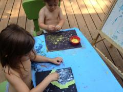 Glow in the Dark Moon and Stars Painting