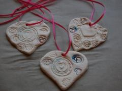 Clay Heart Valentine Pendants