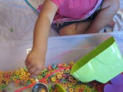 Fruit Loop Sensory Bin