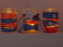 Red, White and Blue Mason Jar Luminaries