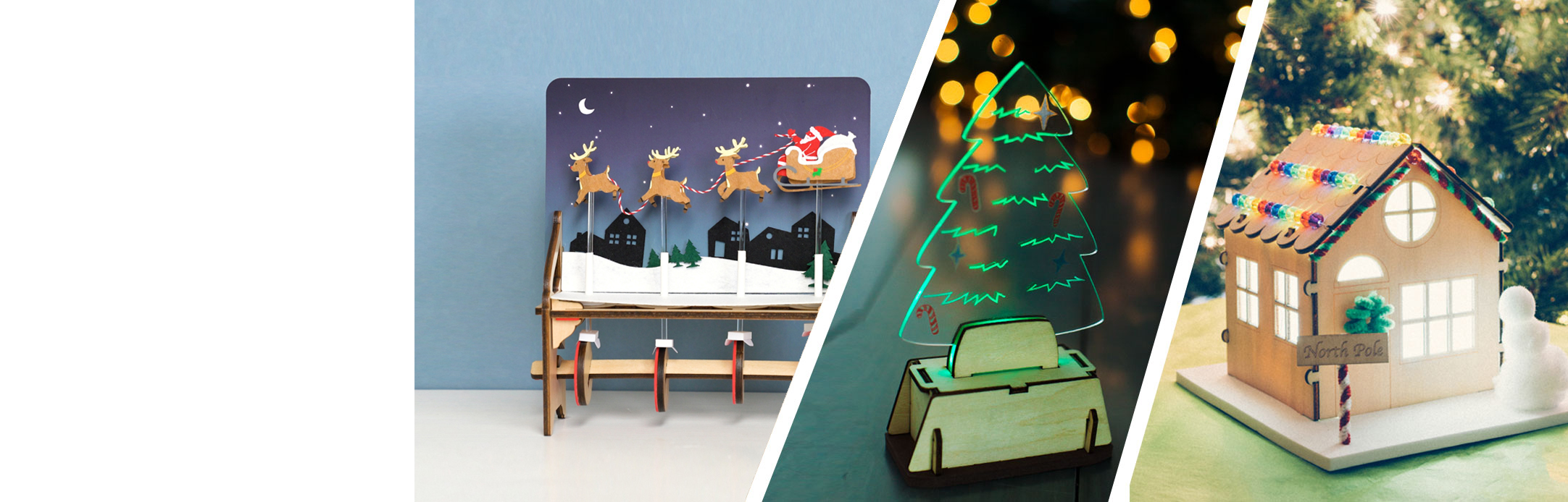 A collage of Holiday projects: UFO Costume, LED Holiday Luminary, and Santa's Light-Up Workshop.